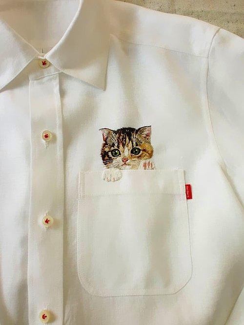 Kedi desenli gömlek